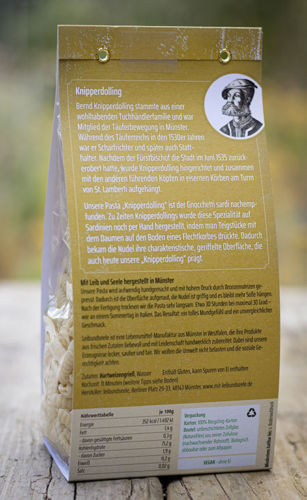 Produktverpackung Rückseite Knypperdollynck Nudeln aus Münster
